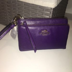 Coach Madison NY Leather DBL Zip Wristlet - Violet